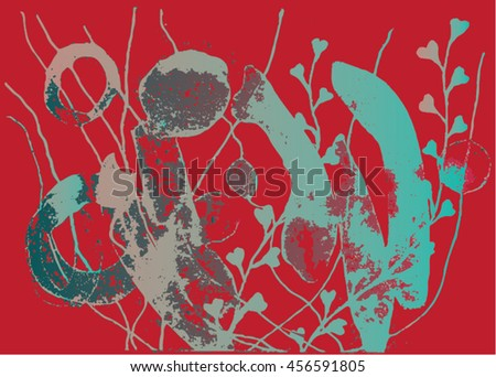 Vector illustration of hand drawn ink distressed grunge floral pattern. Abstract painted backdrop, background. Red, turquoise, fuchsia, grey.