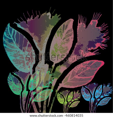 Vector illustration of hand drawn ink distressed grunge floral romantic pattern. Abstract painted leaves, flowers backdrop, background. Transparent  pink, turquoise, green flower on black background.