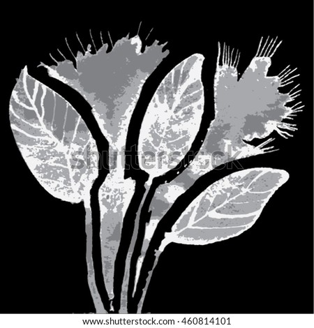 Vector illustration of hand drawn ink distressed grunge floral romantic pattern. Abstract painted leaves, plants, flowers backdrop, background. Transparent grey and white flower on black background.