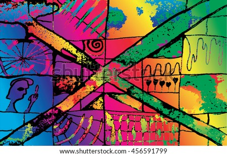 Vector illustration of hand drawn ink distressed grunge pattern. Abstract painted backdrop, background. Cross, alien, spiral, space, universe, spaceship display. Rainbow, spectrum, colorful.