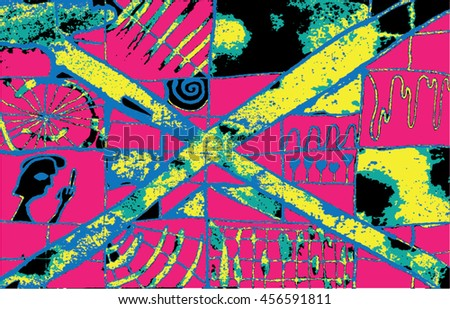 Vector illustration of hand drawn ink distressed grunge pattern. Abstract painted backdrop, background. Cross, alien, spiral, space, universe, spaceship display. Pink, yellow, black.