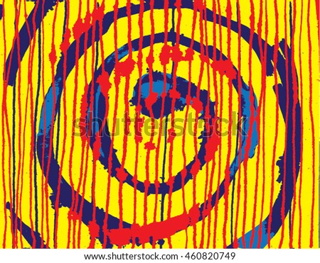 Vector illustration of hand drawn ink distressed grunge spiral pattern. Hand drawn / painted image. Purple, orange and blue. - stock vector