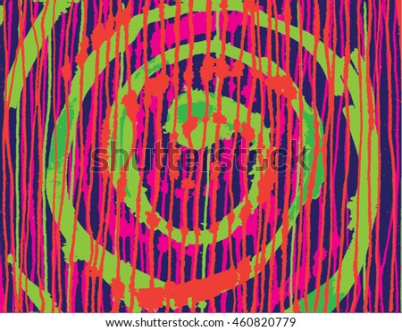 Vector illustration of hand drawn ink distressed grunge spiral pattern. Hand drawn / painted image. Purple, orange and green.