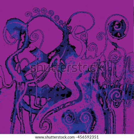Vector illustration of hand drawn ink distressed grunge swirl pattern. Colorful backdrop, background. Purple, blue & black.