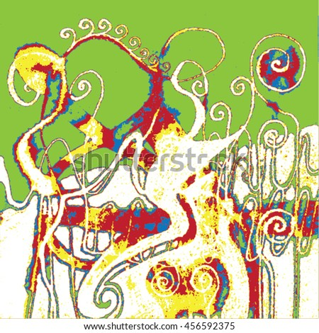 Vector illustration of hand drawn ink distressed grunge swirl pattern. Colorful backdrop, background. White, green, yellow, red & blue.