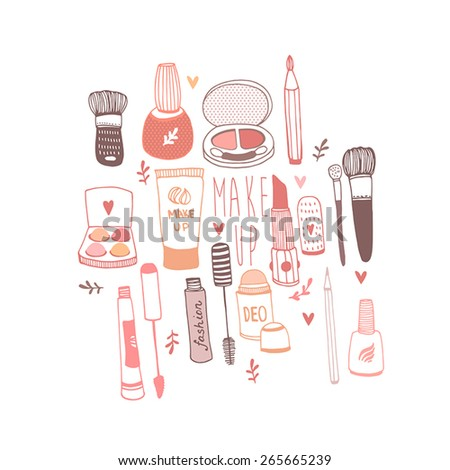 Vector illustration of hand drawn make-up stuff - stock vector