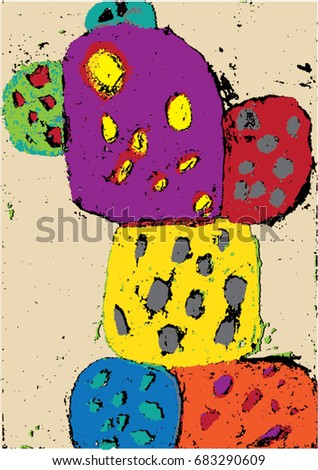 Vector illustration of hand drawn pastel colorful playful cactus drawing. Dots, happy, abstract.