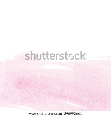 Vector illustration of hand drawn pink watercolor background - gentle brush paint stroke on white - stock vector