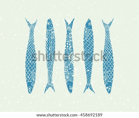 Vector illustration of hand drawn sardines with texture. Advertising, menu or packaging cool design elements.