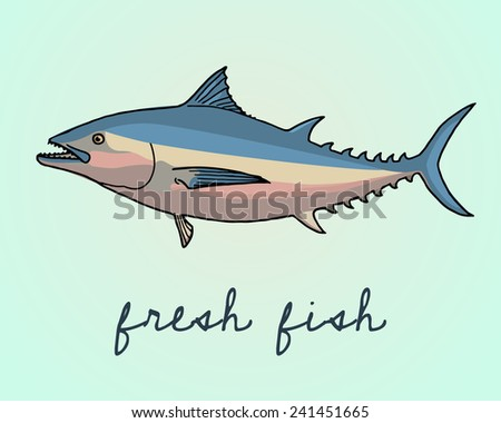 Vector illustration of hand drawn tuna fish. Advertising, menu or packaging design elements. - stock vector