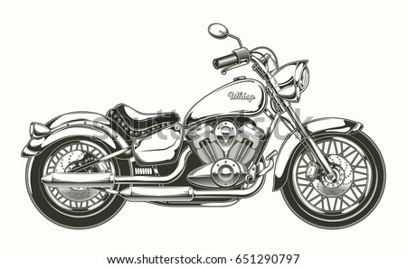 vector illustration handdrawn vintage motorcycle classic stock