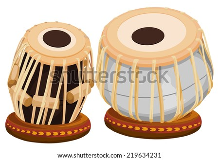 Vector illustration of hand drum. - stock vector