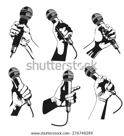 Vector illustration of  hand holding a microphone - stock vector