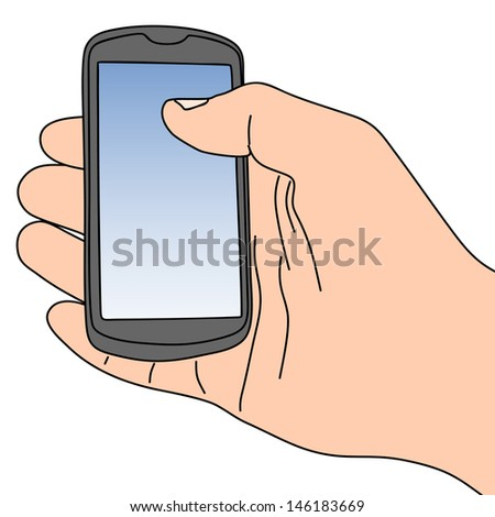 vector illustration of hand holding a touchscreen smartphone