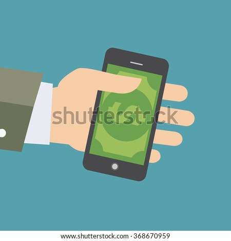 Vector illustration of hand holding smart phone with image of money. Concept of shopping or mobile banking.