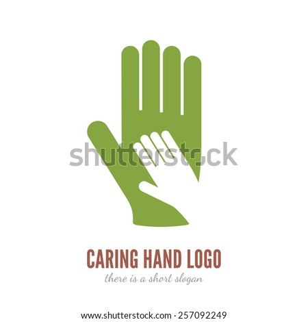 Vector illustration of hand in other hand logo template. Help, care, assistant concept icon. - stock vector