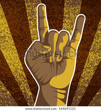 vector illustration of 	 hand sign