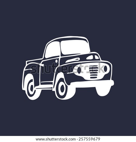 Vector illustration of hand sketched retro farmer's pickup  - stock vector
