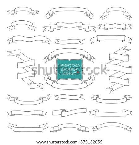 Vector illustration of hand sketched ribbons. Hand drawn with love. Hand drawn ribbons collection.