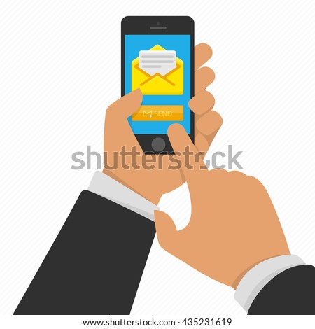 Vector illustration of hand touching smart phone with Email symbol on the screen. Messaging concept. Message send on mobile phone. Smart phone with email social network in hand.   - stock vector