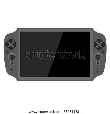 Vector illustration of handheld video game console. Game controller. - stock vector