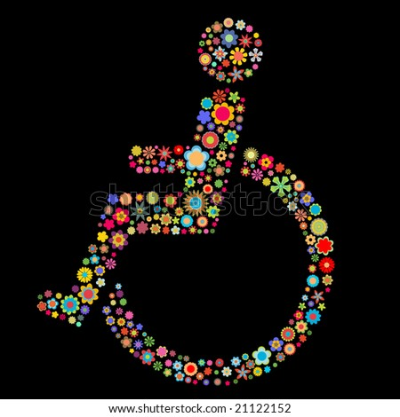 Vector illustration of  handicap sign  shape  made up a lot of  multicolored small flowers on the black background