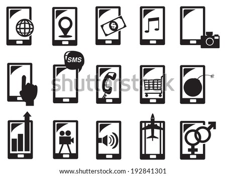 Vector illustration of handphone and different functions in black and white. - stock vector