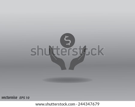 Vector illustration of hands and coin. - stock vector
