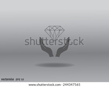 Vector illustration of hands and diamond. - stock vector