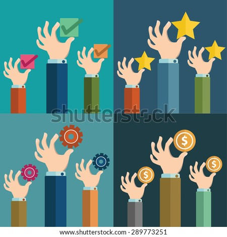 Vector illustration of hands holding a coins, check mark, star, cog . Flat design - stock vector