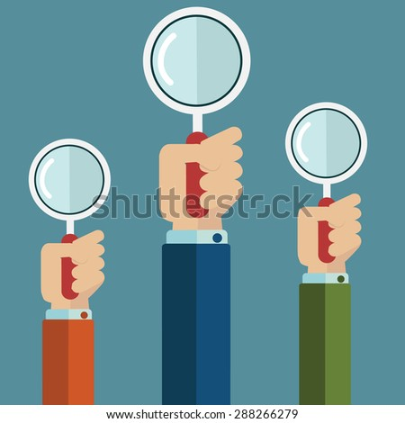 Vector illustration of hands holding a magnifying glass. Flat design - stock vector