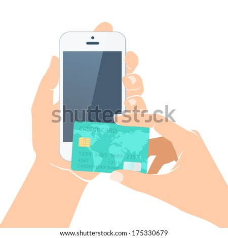 Vector Illustration of  Hands holding credit card and smartphone - stock vector
