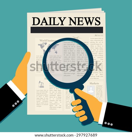 vector illustration of hands holding newspaper and magnify glass in flat style - stock vector