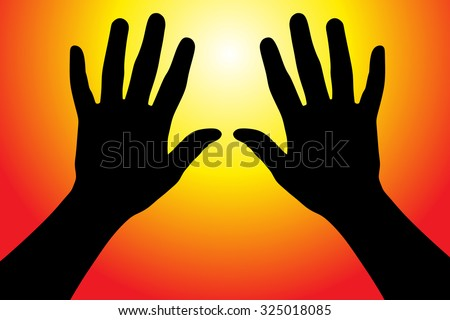 Vector illustration of hands reaching into the air against the sun - stock vector