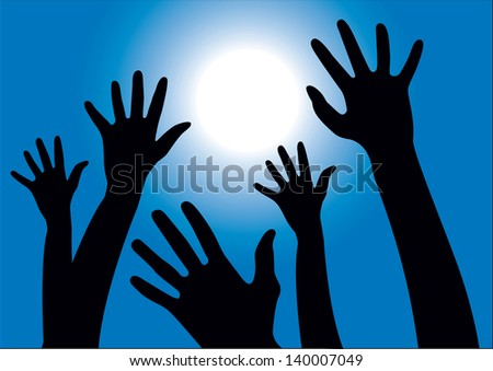 Vector illustration of hands reaching into the air against the sun and blue sky - stock vector