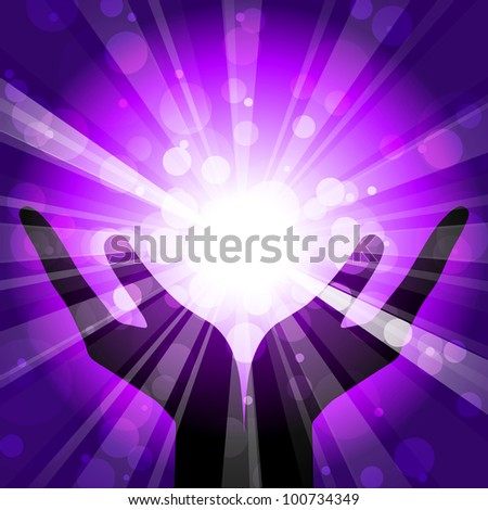 Vector illustration of hands with light - stock vector