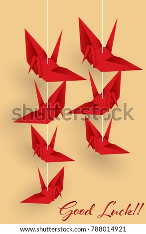 Vector Illustration Of Hanging Origami Paper Cranes In Red Color And Good Luck