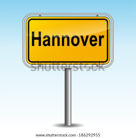 Vector illustration of hanover signpost on sky background - stock vector
