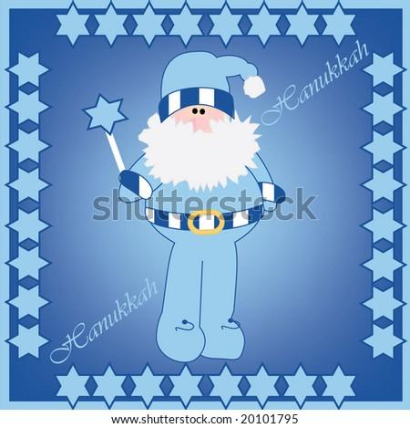 Vector illustration of Hanukkah Harry in card design - stock vector