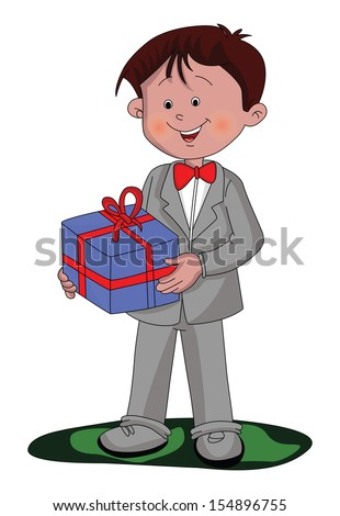 Vector illustration of happy and well dressed boy holding a gift box. - stock vector