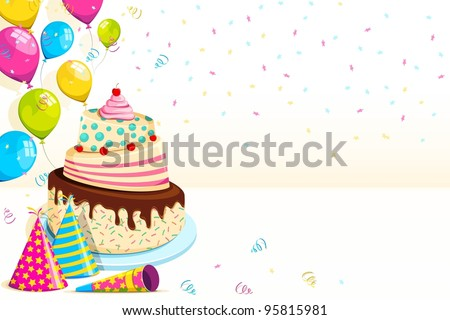 Vector Ilration Of Happy Birthday Background With Cake And Balloon