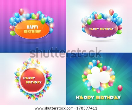 Vector Illustration of Happy Birthday Design Backgrounds Set