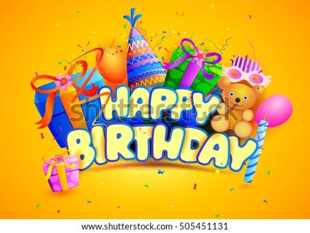 Happy Birthday Design Vector ~ Vector illustration happy birthday wallpaper background stock vector