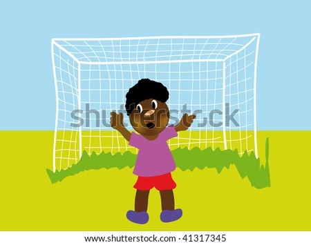 vector illustration of happy boy plaing football isolated on white background - stock vector