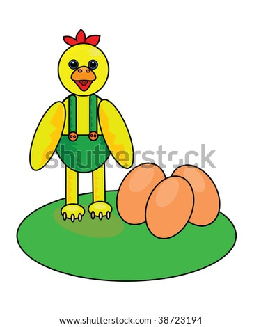 Vector illustration of happy chicken with eggs.