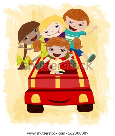 Vector illustration of happy children driving a car. - stock vector
