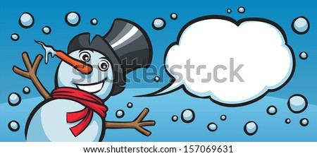 Vector illustration of happy christmas snow man banner. Easy-edit layered vector EPS10 file scalable to any size without quality loss. High resolution raster JPG file is included. - stock vector