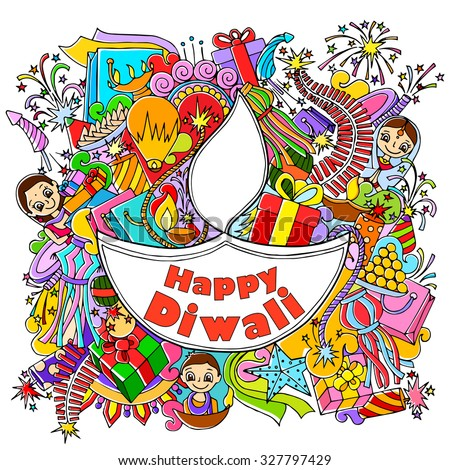 vector illustration of Happy Diwali doodle drawing - stock vector