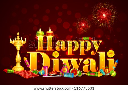 vector illustration of Happy Diwali with diya and fire cracker - stock vector