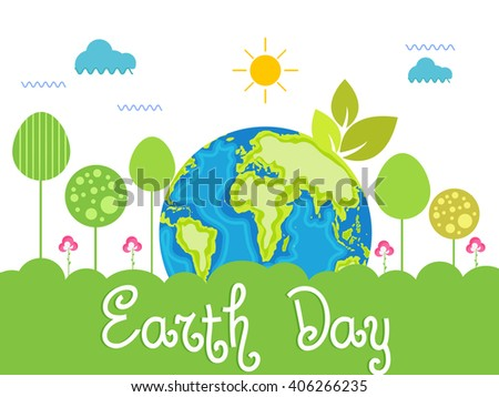 Vector illustration of happy earth day.